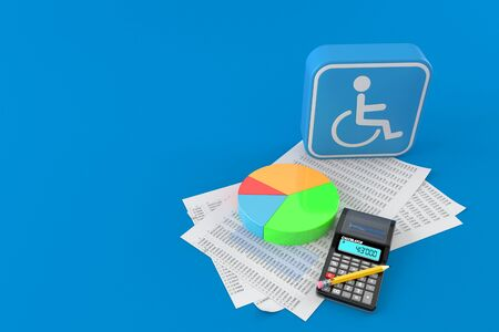 Handicap symbol with documents and calculator isolated on blue background. 3d illustration
