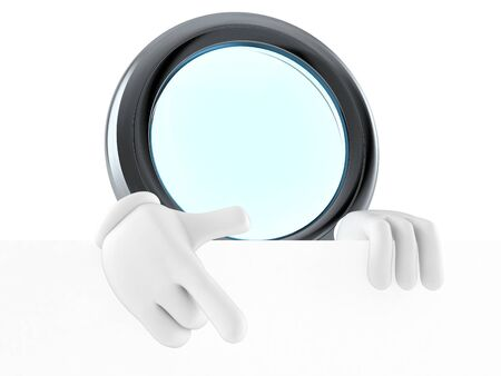 Magnifying glass character behind white wall isolated on white background. 3d illustration Stok Fotoğraf