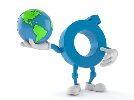 Male gender symbol character holding world globe isolated on white background. 3d illustration