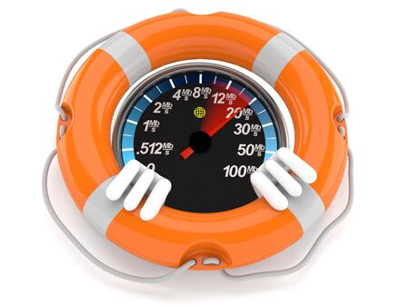 Network speed meter character inside life buoy isolated on white background. 3d illustration Reklamní fotografie
