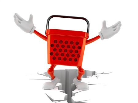 Shopping basket character standing on cracked ground isolated on white background. 3d illustration