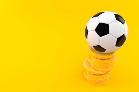 Soccer ball with stack of coins isolated on orange background. 3d illustration