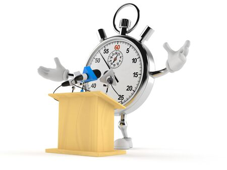 Stopwatch character gives a presentation isolated on white background. 3d illustration Reklamní fotografie
