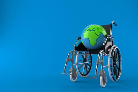 World globe with wheelchair isolated on blue background. 3d illustration Zdjęcie Seryjne