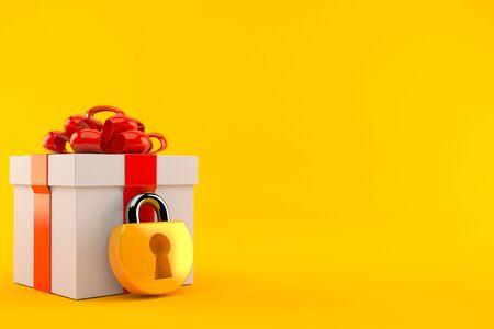 Gift box with padlock isolated on orange background. 3d illustration Reklamní fotografie