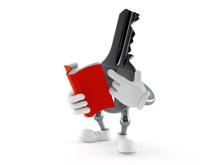 Door key character reading a book isolated on white background. 3d illustration