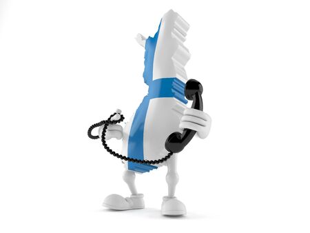Finland character holding a telephone handset isolated on white background. 3d illustration