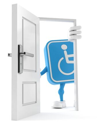 Handicapped character standing close to open door isolated on white background. 3d illustration Reklamní fotografie