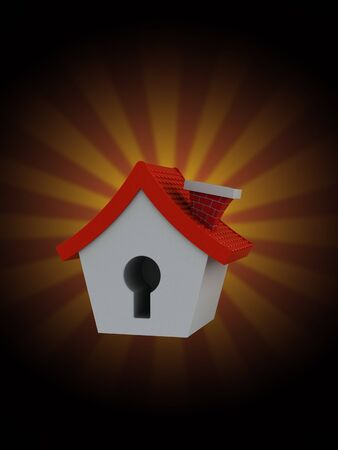 Small house on rays background. 3d illustration