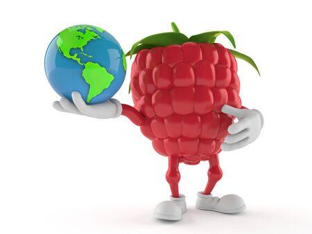 Raspberry character holding world globe isolated on white background. 3d illustration