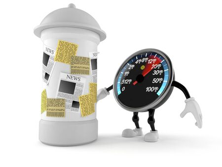 Network speed meter character with advertising column isolated on white background. 3d illustration