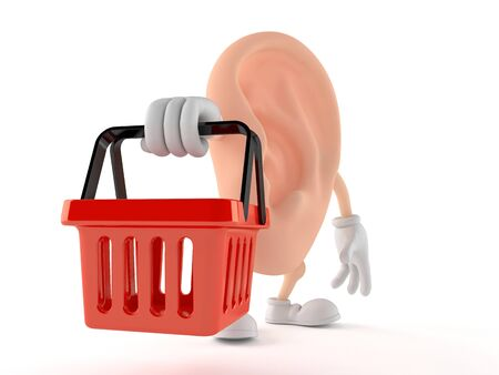 Ear character holding empty shopping basket isolated on white background. 3d illustration Zdjęcie Seryjne