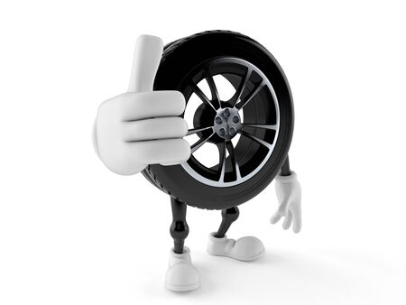 Car wheel character with thumbs up gesture isolated on white background. 3d illustration