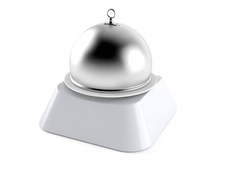 Catering dome on computer key isolated on white background. 3d illustration 스톡 콘텐츠