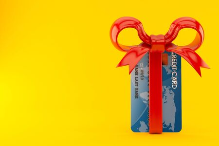 Credit card with red ribbon isolated on orange background. 3d illustration Zdjęcie Seryjne