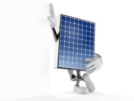 Photovoltaic panel character isolated on white background. 3d illustration