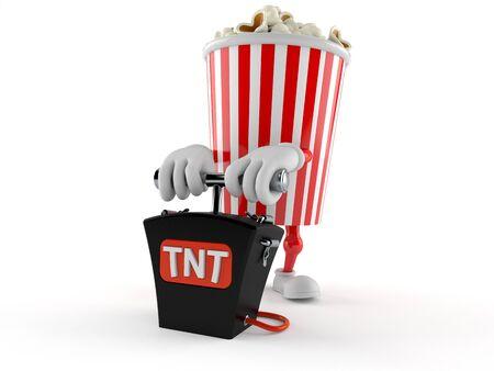 Popcorn character with bomb detonator isolated on white background. 3d illustration