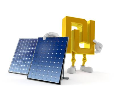 Shekel character with photovoltaic panel isolated on white background. 3d illustration