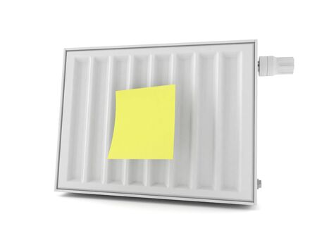 Radiator with blank yellow sticker isolated on white background. 3d illustration