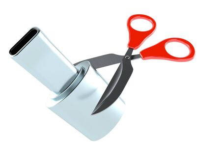 Muffler with scissors isolated on white background. 3d illustration