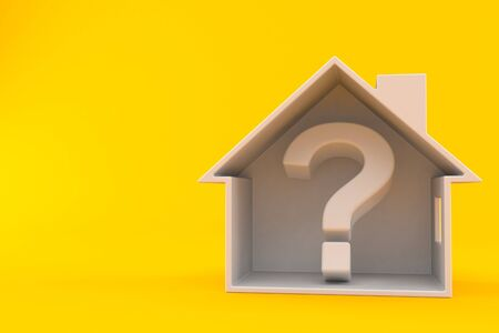 Question mark inside house cross-section isolated on orange background. 3d illustration