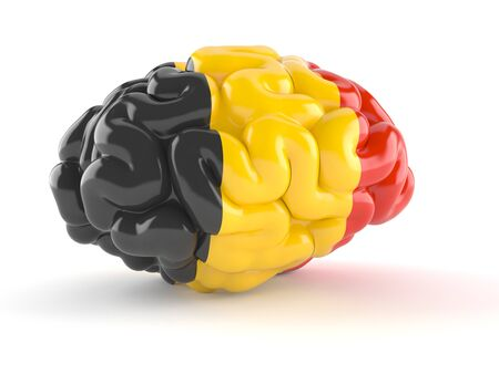 Brain with belgian flag isolated on white background. 3d illustration Imagens