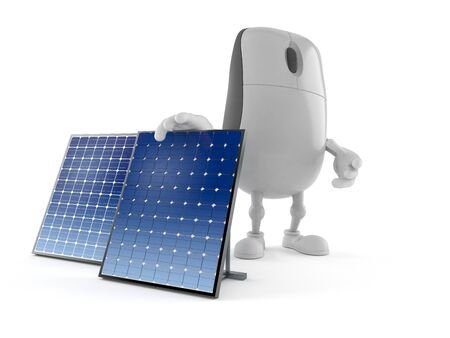 Computer mouse character with photovoltaic panel isolated on white background. 3d illustration