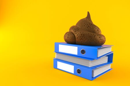 Dung poo with stack of ring binders isolated on orange background. 3d illustration