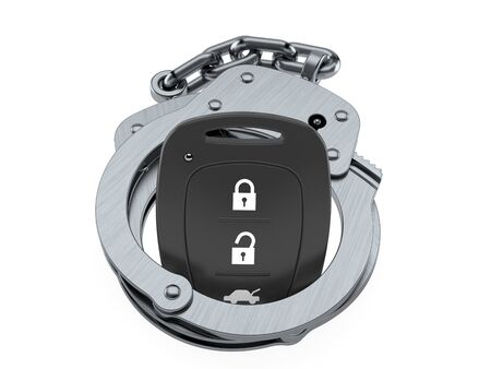 Car remote key inside handcuffs isolated on white background. 3d illustration Banco de Imagens