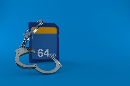 SD card with handcuffs isolated on blue background. 3d illustration Banco de Imagens
