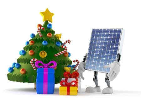 Photovoltaic panel character with christmas tree and gifts isolated on white background. 3d illustration