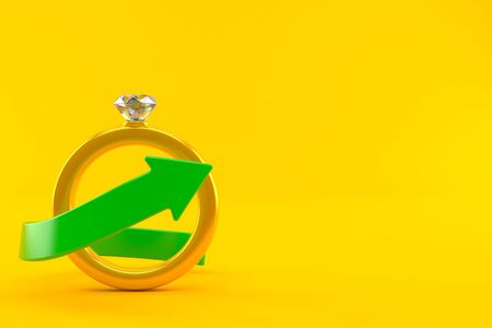 Engagement ring with green arrow isolated on orange background. 3d illustration Stock fotó