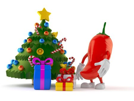 Hot chili pepper character with christmas tree and gifts isolated on white background. 3d illustration
