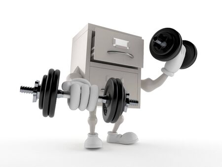 Archive character with dumbbells isolated on white background. 3d illustration Standard-Bild - 134347766