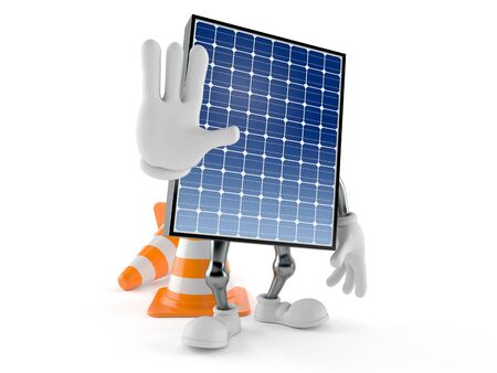 Photovoltaic panel character with stop gesture isolated on white background. 3d illustration Banco de Imagens