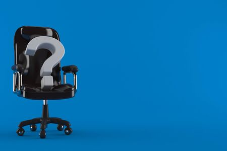 Question mark on business chair isolated on blue background. 3d illustration