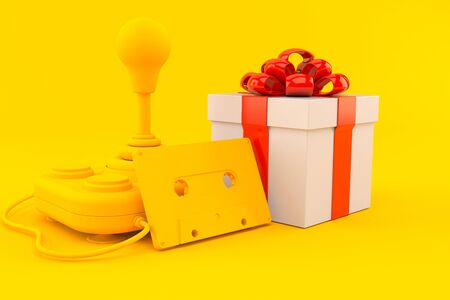 Retro gaming background with gift in orange color. 3d illustration