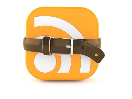 RSS icon squeezed by belt isolated on white background. 3d illustration Imagens