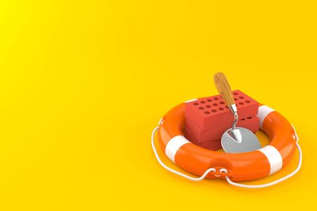 Trowel and bricks inside life buoy isolated on orange background. 3d illustration