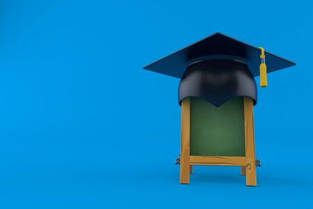 Wooden blackboard with mortarboard isolated on blue background. 3d illustration