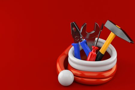 Work tools inside santa hat isolated on red background. 3d illustration