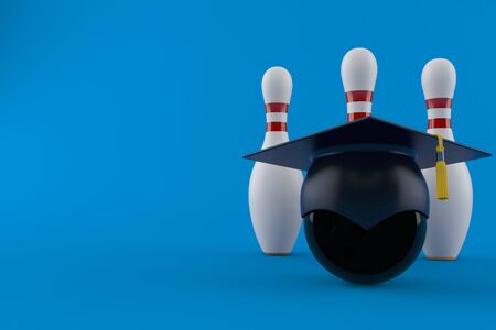Bowling ball and pins with mortarboard isolated on blue background. 3d illustration Zdjęcie Seryjne