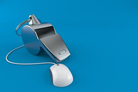Whistle with computer mouse isolated on blue background. 3d illustration 版權商用圖片