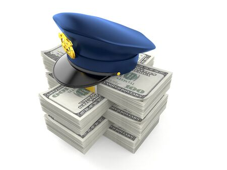 Police hat on stack of money isolated on white background. 3d illustration 写真素材