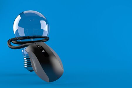 Light bulb with computer mouse isolated on blue background. 3d illustration