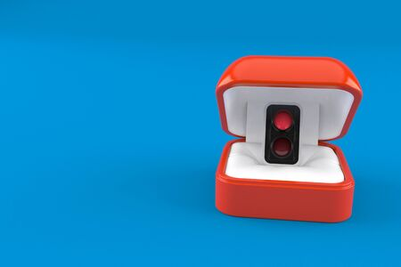 Red traffic light inside engagement ring box isolated on blue background. 3d illustration