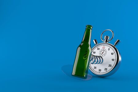 Green glass bottle with stopwatch isolated on blue background. 3d illustration Stock Photo