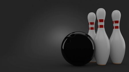 Bowling ball and pins on gray background. 3d illustration