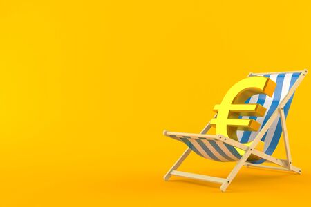 Euro currency on deck chair isolated on orange background. 3d illustration