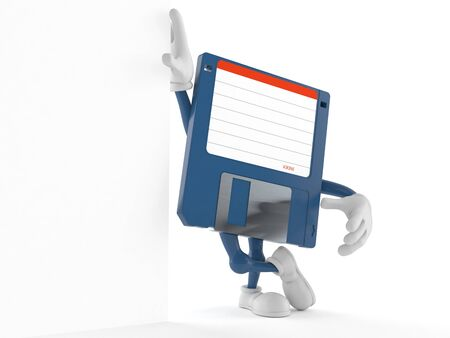 Floppy disk character leaning on wall isolated on white background. 3d illustration